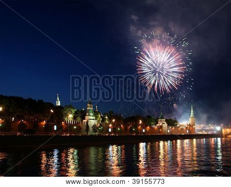 Fireworks Over The Moscow Kremlin. Russia, June 12, 2011