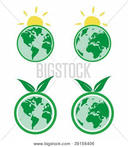 Vector Ecology icons sign or symbol with earth, green tree, leaf and sun