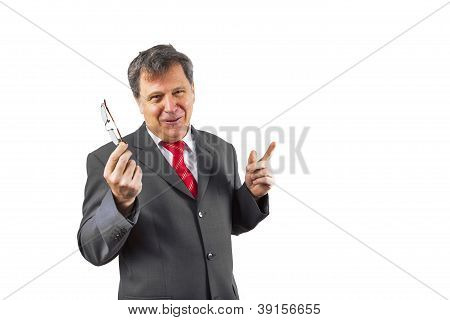 Business Man Holding A Speach