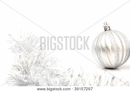 One Silver Christmas Ball On White