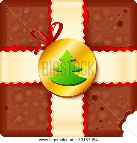 Christmas chocolate box with badge and ribbon