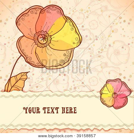 Red, orange and yellow flowers greeting card