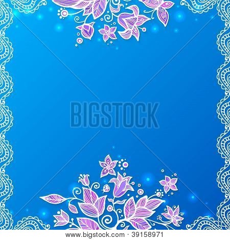 Blue and violet doodle flowers card