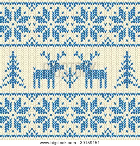 White and blue sweater with deer vector ornament