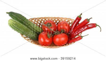 Stillife Of Fresh Vegetables On White Background