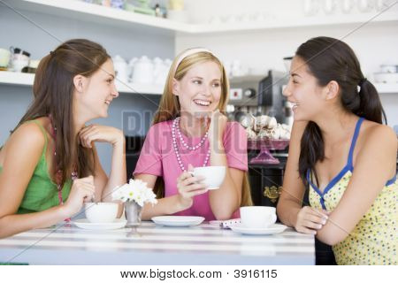 Girlfriends Drinking Tea In Tea Room