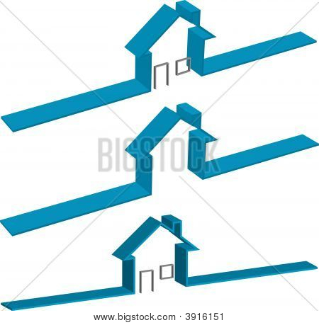 Blue Ribbon 3D House Symbos With Door Window