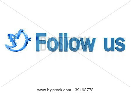 Blue bird and Follow Us word