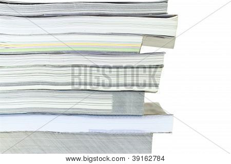 Stack Of Books On White Background, Partial View.