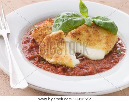 Fried Breaded Mozzarella Cheese With Tomato Ragu