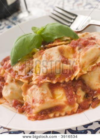 Veal And Sage Ravioli With Tomato And Basil Sauce