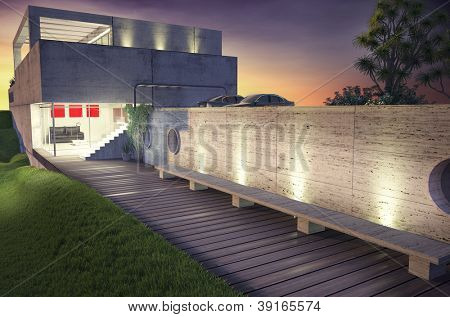 modern house architecture concept (3D rendering)