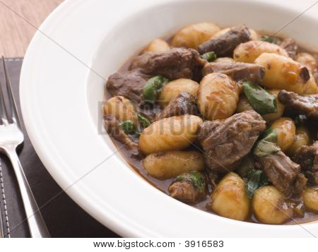 Oxtail Braised In Red Wine With Basil Gnocchi
