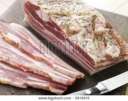 Piece Of Pancetta And Slices