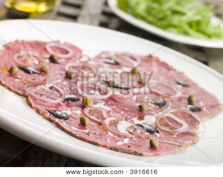 Carpaccio Of Beef Fillet With Rocket Salad
