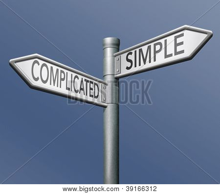 complicated or simple the easy or the hard way roadsign arrow on blue background crossroads decisive choice challenge making choice stand out from crowd taking risk adventure character test