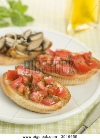 Plate Of Vegetarian Bruschetta