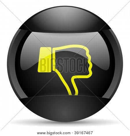 thumb down round black web icon on white background