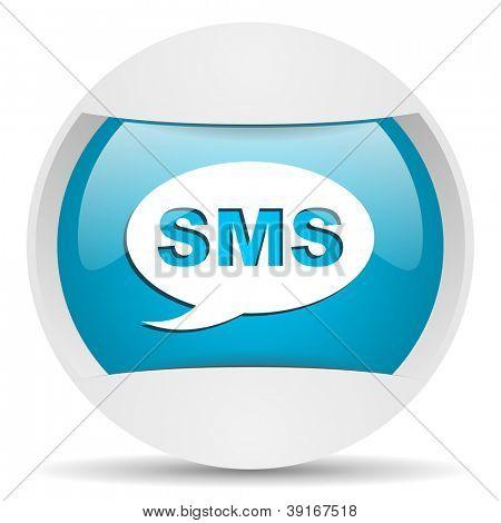 sms round blue web icon on white background