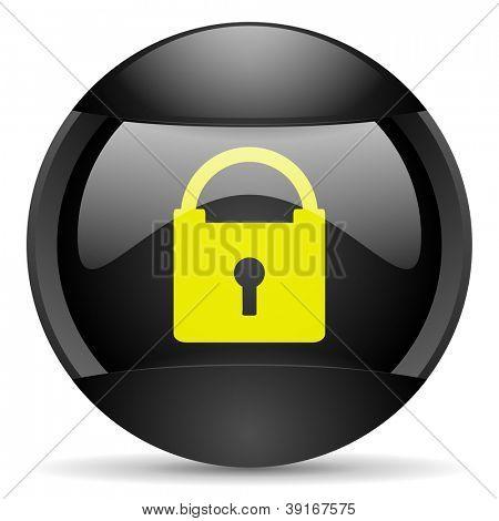 protect round black web icon on white background