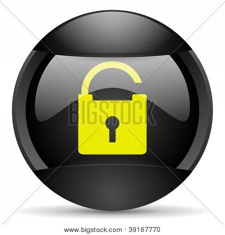 padlock round black web icon on white background