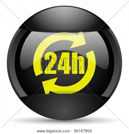 24h round black web icon on white background