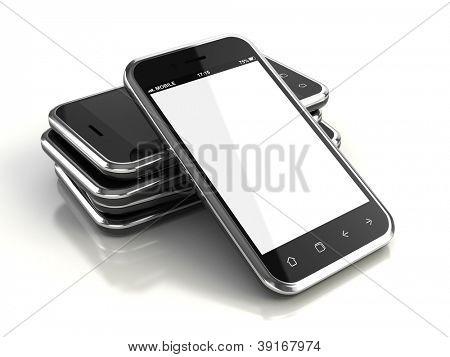 Teléfonos con pantalla táctil - render 3d