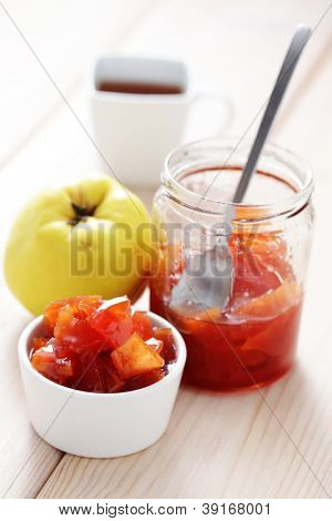 home made quince confiture - goods in jar