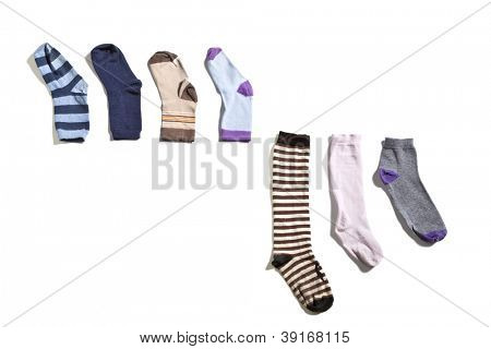 old socks, isolated on white background