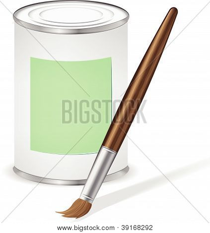 Green Paint Tin And Paint Brush