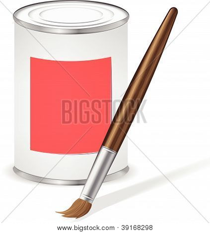 Red Paint Tin And Paint Brush