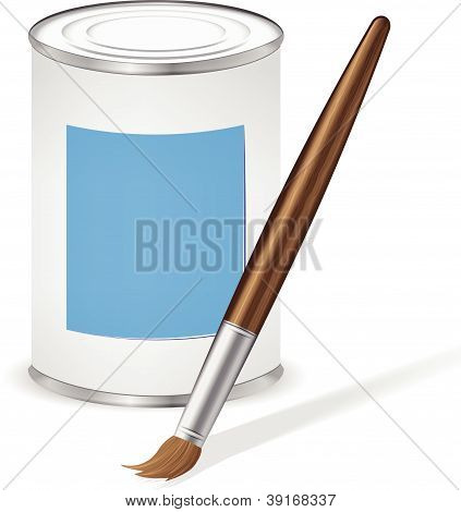 Blue Paint Tin And Paint Brush