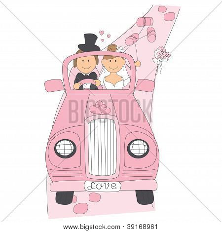 Wedding couple on car driving to their honeymoon.