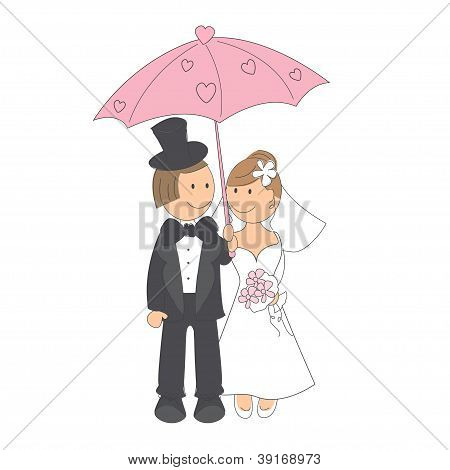 Wedding invitation with funny bride and groom