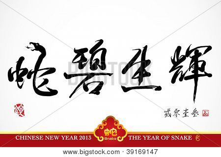 Vector Snake Calligraphy, Chinese New Year 2013 Translation: Snake Lives the Splendor