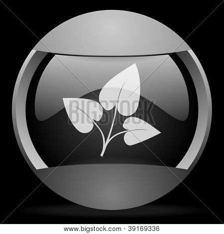 eco round gray web icon on black background