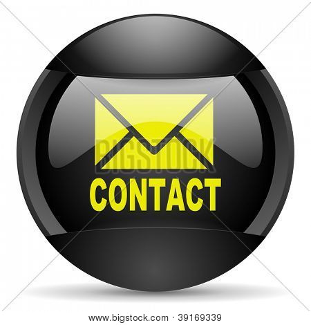 contact round black web icon on white background