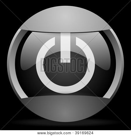 power round gray web icon on black background