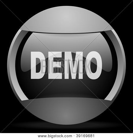demo round gray web icon on black background