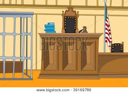 Law Court. Cartoon Background. Vector Illustration EPS 10.