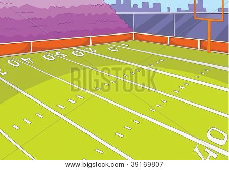 American Football Stadium. Cartoon Background. Vector Illustration EPS 10.