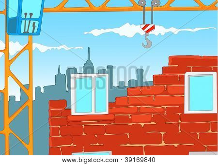 House Construction. Cartoon Background. Vector Illustration EPS 10.