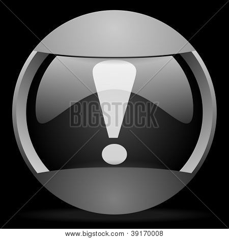 exclamation sign round gray web icon on black background
