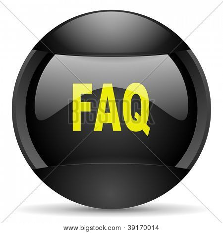 faq round black web icon on white background
