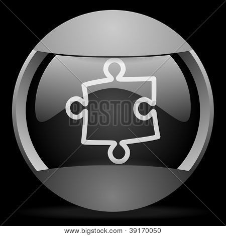 puzzle round gray web icon on black background