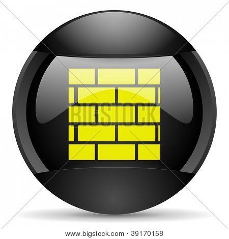firewall round black web icon on white background