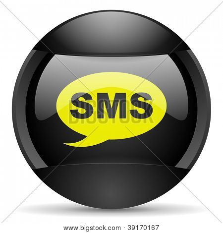 sms round black web icon on white background