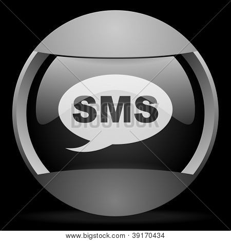 sms round gray web icon on black background