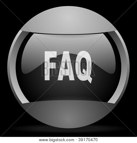 faq round gray web icon on black background