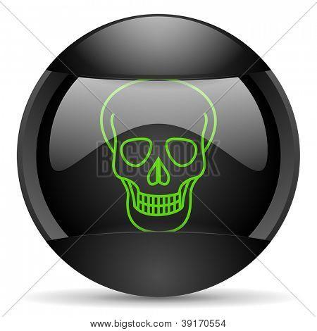 skull round black web icon on white background
